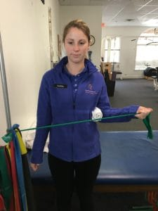 Standing External Rotation with Band for Rotator Cuff Injury Ending Position
